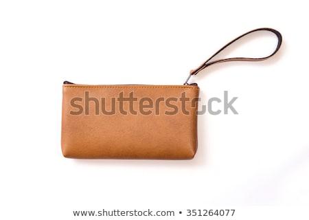 Geld leder zak geïsoleerd witte papier Stockfoto © natika