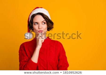 Stock fotó: Karácsony · nő · mikulás · sapka · piros · lány
