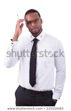 africano · americano · empresário · isolado · branco · escrita · bloco · de · notas - foto stock © dgilder
