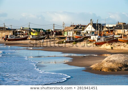 Nets on the Punta del Diablo Beach, popular tourist place and Fi Stock photo © xura