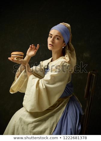 Lány paraszt ruha gyönyörű lány izolált fehér Stock fotó © 26kot