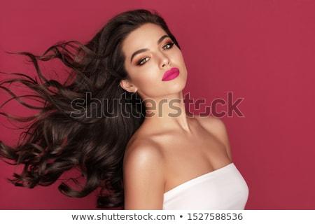 Barna haj barna szemek hibátlan arc természetes nő Stock fotó © Geribody