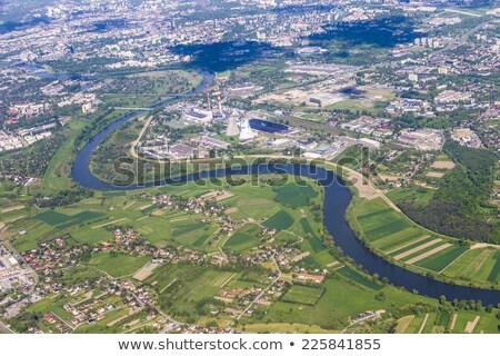 Légi tájkép erőmű Krakkó folyó város Stock fotó © meinzahn