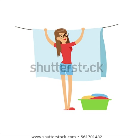 Illustration of woman hanging up clothes outside Stock photo © gigra