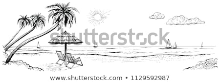 tropical beach view with two chaise longues stock photo © dariazu