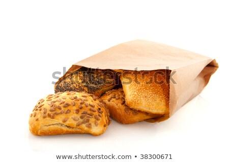 Бублики грубая оберточная бумага бумаги продовольствие хлеб Сток-фото © tangducminh