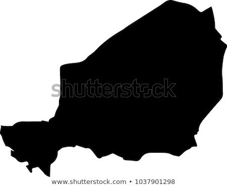 силуэта карта Нигер знак белый Сток-фото © mayboro