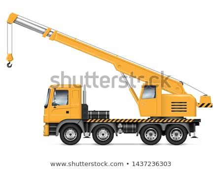 Kraan vrachtwagen haak geïsoleerd witte hemel Stockfoto © papa1266