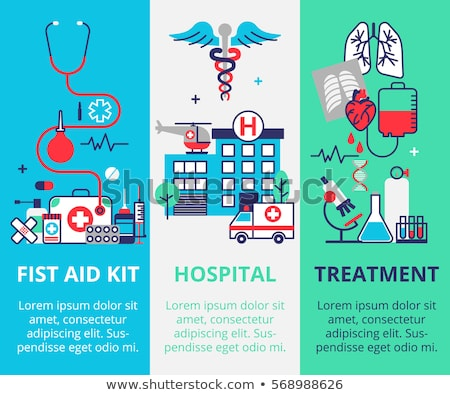 nurse with medical icons for web design modern flat style stock photo © smeagorl