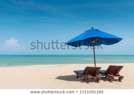 Tengerpart napernyő gyönyörű Bulgária fekete tenger Stock fotó © sarymsakov