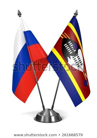 Rusland Swaziland miniatuur vlaggen geïsoleerd witte Stockfoto © tashatuvango