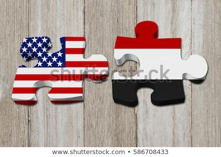 USA · Jemen · flagi · puzzle · wektora · obraz - zdjęcia stock © istanbul2009