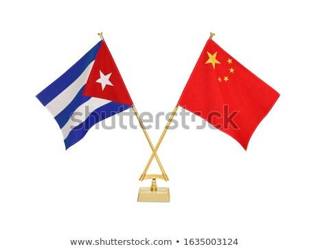 Cina Cuba miniatura bandiere isolato bianco Foto d'archivio © tashatuvango