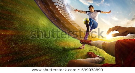 Green Background with Soccer Player Stock photo © Voysla