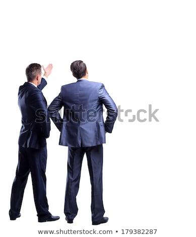 Foto stock: Hombre · de · negocios · mirando · esquina · aislado · negocios · ejecutivo