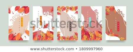 sale tags with autumn leafs stock photo © elaine
