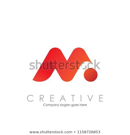 Soyut vektör logo kırmızı mektup m moda Stok fotoğraf © butenkow