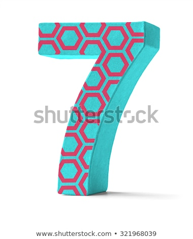 Colorful Paper Mache Number on a white background  - Number 7 Stock photo © Zerbor