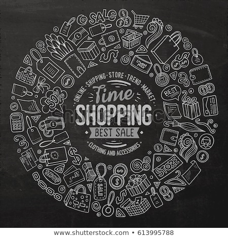online · winkelen · icon · krijt · Blackboard - stockfoto © rastudio
