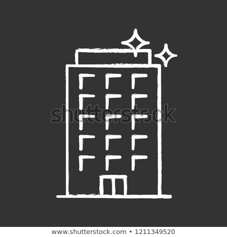 Residential building icon drawn in chalk. stock photo © RAStudio