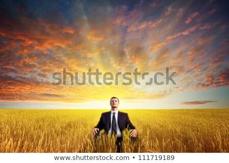 man · mediteren · water · gelukkig · zonsondergang · natuur - stockfoto © paha_l