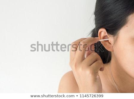 Vrouw schoonmaken oor katoen kiem Stockfoto © AndreyPopov