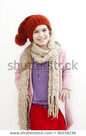 uśmiechnięta · kobieta · szalik · kobieta · ubrania - zdjęcia stock © elnur