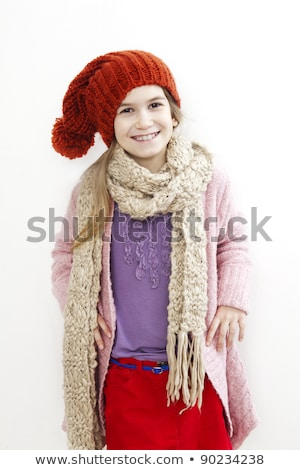 bonitinho · sorridente · menina · cachecol · boné - foto stock © elnur