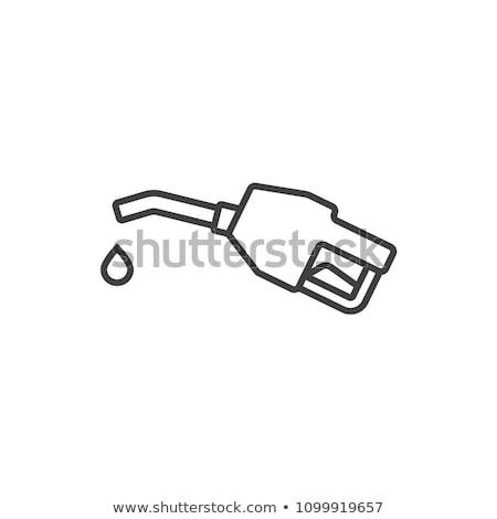 Benzine pompen mondstuk lijn icon web Stockfoto © RAStudio