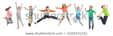 boldog · gyerek · ugrik · kívül · nyár · gyerekek - stock fotó © zurijeta