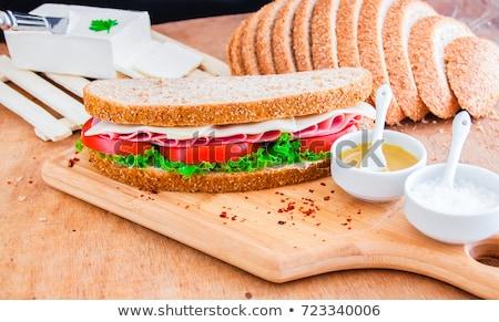 Stock photo: Green salad with ham