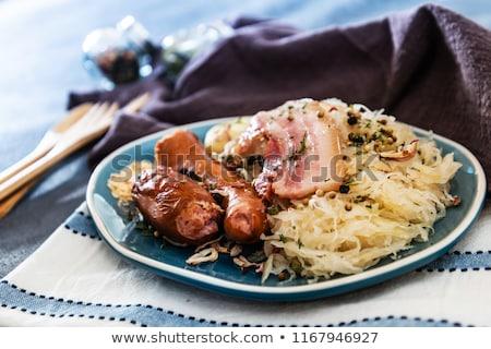 Foto stock: Chucrute · bacon · tigela · vegetal · ninguém · pormenor