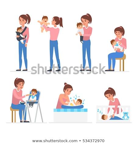 Nő tart baba csúzli ázsiai vektor Stock fotó © RAStudio
