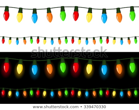 seamless string of christmas lights isolated on white stock photo © hermione