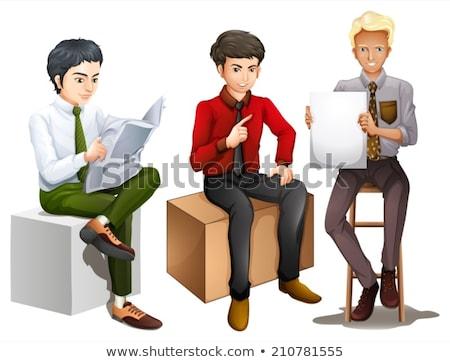 Três homens sessão para baixo leitura falante Foto stock © bluering