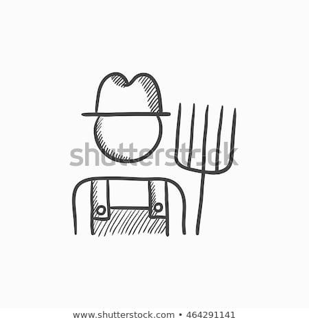 эскиз фермер грабли иллюстрация белый древесины Сток-фото © bluering