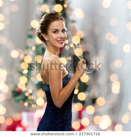 魅力的な女の子 · ガラス · フィズ · 美しい · ソファ - ストックフォト © victoria_andreas