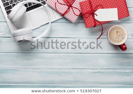karácsony · ajándékdobozok · pc · kávéscsésze · fa · laptop - stock fotó © karandaev