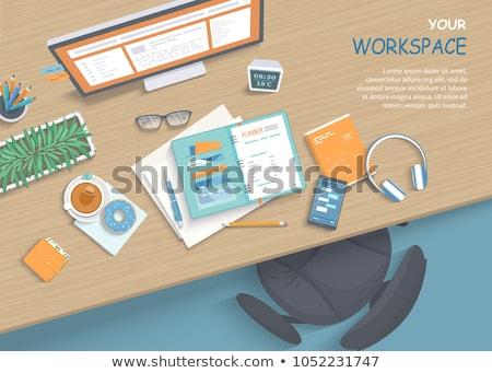 vetor · ícone · blogger · trabalhar · tabela · branco - foto stock © vanzyst