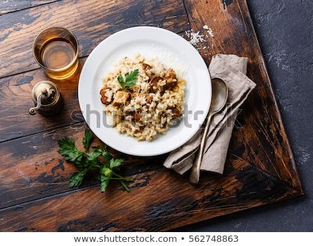 Gomba rizottó vacsora étel olasz gyógynövény Stock fotó © M-studio