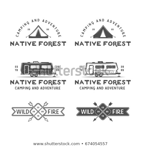 Set of monochrome outdoor adventure explorer camp badge, logo and label templates. Trekking club. Be Stock photo © JeksonGraphics