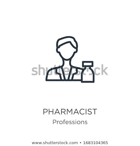 farmacêutico · linha · ícone · vetor · isolado · branco - foto stock © RAStudio