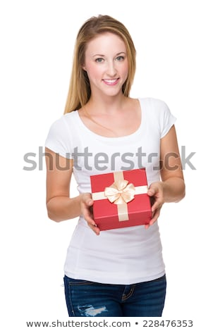 Young woman with giftbox isolated on white Stock photo © Elnur