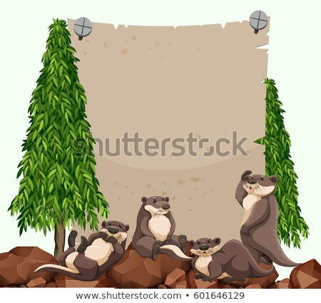 Beavers on the rock and blank paper Stock photo © bluering