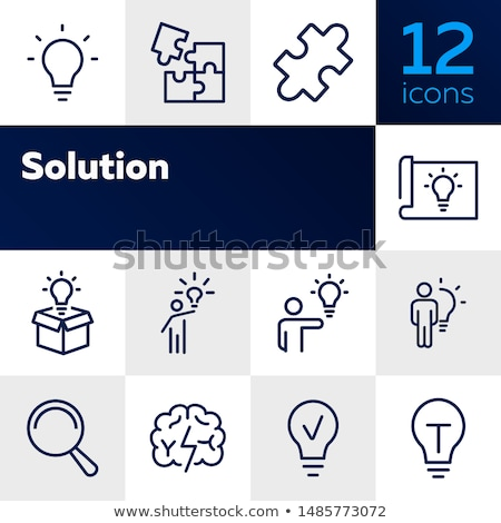 Stock photo: Jigsaw puzzle icons collection