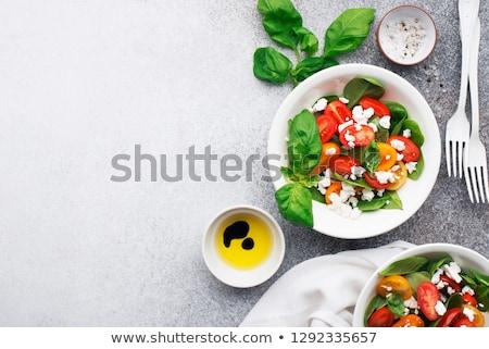 Zöldség saláta túró tál vegyes paradicsom Stock fotó © Digifoodstock