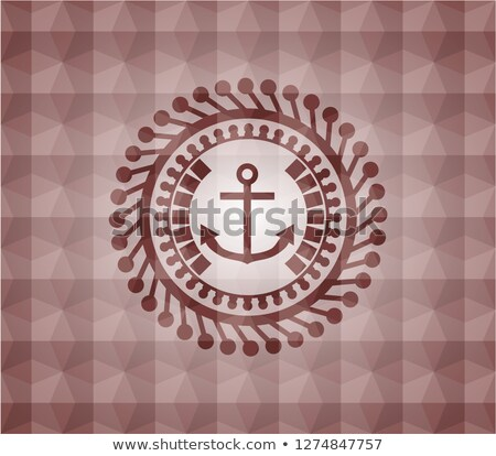 Anchor inside hexagon, flat design icon Stock photo © user_11138126