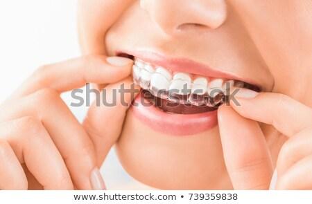 ストックフォト: シリコーン · 歯科 · トレイ · 孤立した · モデル