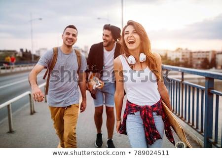 счастливым три друзей мальчики Перейти горные Сток-фото © psychoshadow