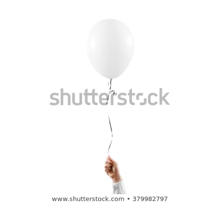 Hand hold blank white balloon mock up isolated Stock photo © Sibstock